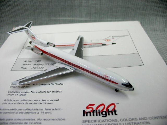 Out of print Inflight500 TWA 727-200 1:500 American Airlines n54330 aircraft model(China (Mainland))