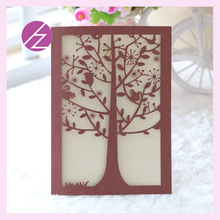 2017 greeting invitation cards party deceration supplies big tree design laser cut handmade wedding invitations card QJ-137(China)