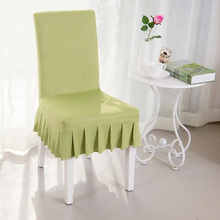 Grass Green High Quality Spandex Chair Covers Elastic Short Skirt Dustproof Chair Covers For Weddings Dining Decoration V20(China)