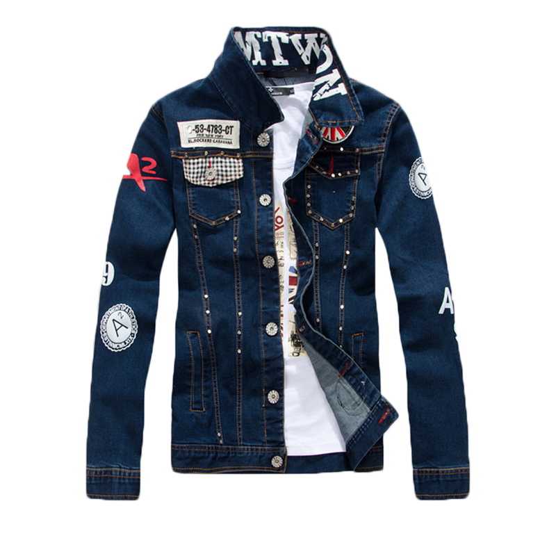 ABOORUN Korean Style Mens Fashion Denim Jackets Rivets Patchwork Slim fit Jeans Jackets Spring Autumn Coat for Male x1398