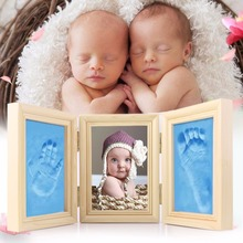 Cute Baby Photo frame DIY handprint or footprint Soft Clay Safe non toxic ceremony best gift for baby