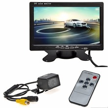 "New 7"" Car Monitor TFT LCD Screen Car Rear View Backup Parking Mirror Monitor + Night Vision Camera Car Security Tool Kit(China)"
