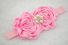 120pcs/lot girl Satin Rolled Rosettes fascinating poof flower shimmery soft stretchy satin elastic headband