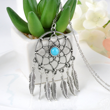 Vintage Korea Dream Catcher Leaves Pendant necklace Silver Plated Alloy Girl Chian Statement necklaces Necklaces & Pendants