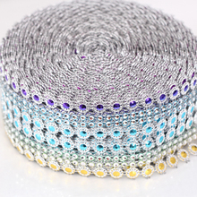 5yard/lot 4mm 3rows Rhinestone Chain Plastic Rhinestone Silver Mesh Trim For DIY Crafts Cake Ribbon Clothing Decoration B2239(China)