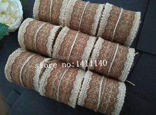 free shipping Chocolate Color Burlap Ribbon Jute Twine Craft Wedding Party Decorative Eco Green Ideas 6cm x 2m(China)