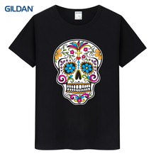 Online Buy Tee Shirt 2017 Sugar Skull Roses Eyes Day Of The Dead Mexican Gothic Los Muertoss T Shirt Onlines And Striped T-Shirt(China)