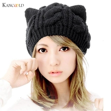 2017 Fashion Winter Hat Cat Ears Hemp Flowers Crochet Beanies Cap Hats For Women Warm Scarf And Hat Knitted Hat drop shipping 5F(China)