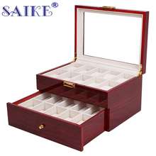 SAIKE 20 Grids Watch Display Box Lacquer Wood MDF Multifunction Watches Box Holder Case for Expensive Jewelry Watch Storage(China)