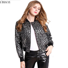 LXUNYI Woman Bomber jacket Autumn Winter Leopard Printed Thick Short jackets Women Long Sleeve Thick Zipper Coat Casual(China)