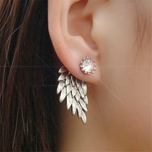 Special Account Hyperbole European & American Style Vintage Super Diamante Angle Wings Push Back Stud Earrings For Women 2017(China)