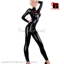 Buy Black latex catsuit Vertical breast cuffs zipper rubber body suit Unitard Zentai overall plus size LT-120