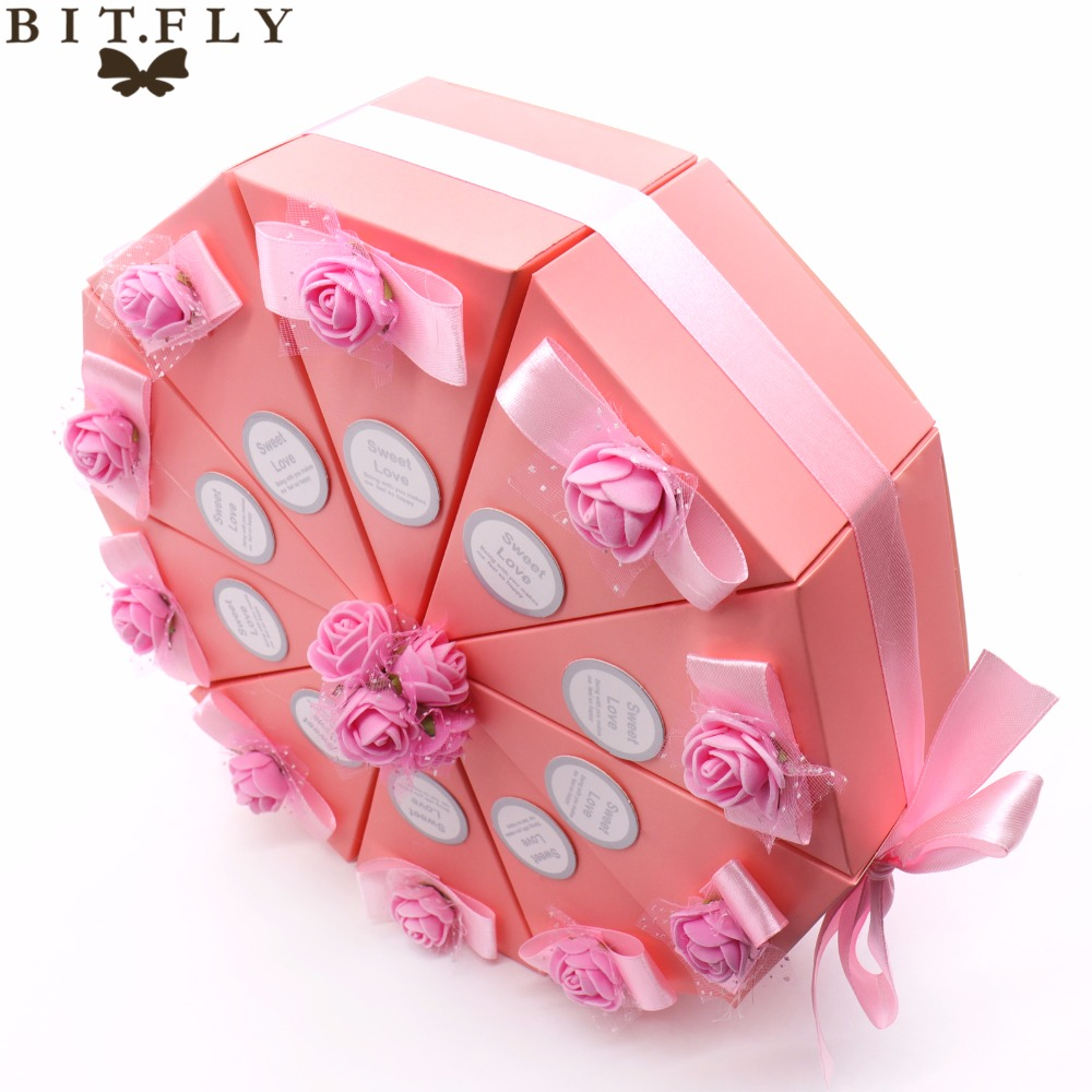 Pink Bowknot Cake Shaped Wedding Candy Paper Box Gift Case Candy ...