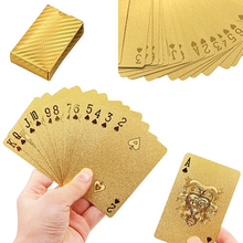 1 Set Golden Playing Cards Deck gold foil poker set Magic card 24K Gold Plastic foil poker Durable Waterproof Cards
