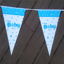 Hot sale  Blue Baby Boy Theme Party Paper Flags Newborn Baby Shower Party Decoration 10pcs/Line paper bunting pennant  P134