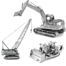 3D Metal Puzzles Crane CAT Excavator Toys 3D Metal Model NANO Puzzles New Styles Chinses Metal Earth DIY Creative Gifts