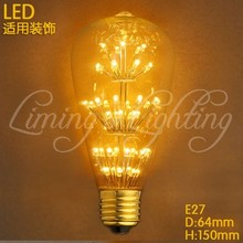 Antique Loft Style Edison Star ST64 LED Filament Bulb E27 220V Warm White Light Retro Style for Rope lights Chandelier Wall Lamp(China)