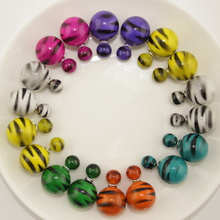 7 Pairs/lot Mix Colors Top Selling Fashion Jewelry Yiwu Cheap Stripe Double Pearl Double Sided Stud Earrings for Women(China)