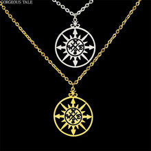 GORGEOUS TALE 2017 Circle Charm Stainless Steel Jewelry Vintage Compass Graduation Gift Gold Silver Women Necklace Luck(China)