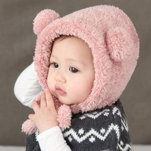 Baby Hats Warm Winter Ear Protection Hat Caps Newborn Baby Lovely Bear Plush Beanie Hats Kids Toddler Headwear Accessories(China)