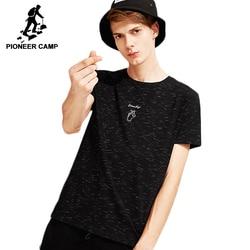 Pioneer camp эластичная Футболка Мужская мода с принтом сердца новый дизайн с коротким рукавом для мужчин черный бренд хлопок Мужская футболка ...