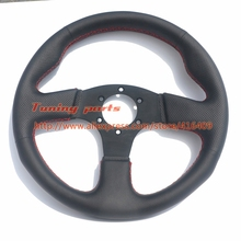 13 inch Leather Steering Wheel 330mm Flat Steering Wheel For Racing Car With Red Stitching Game Steering Wheel(China)