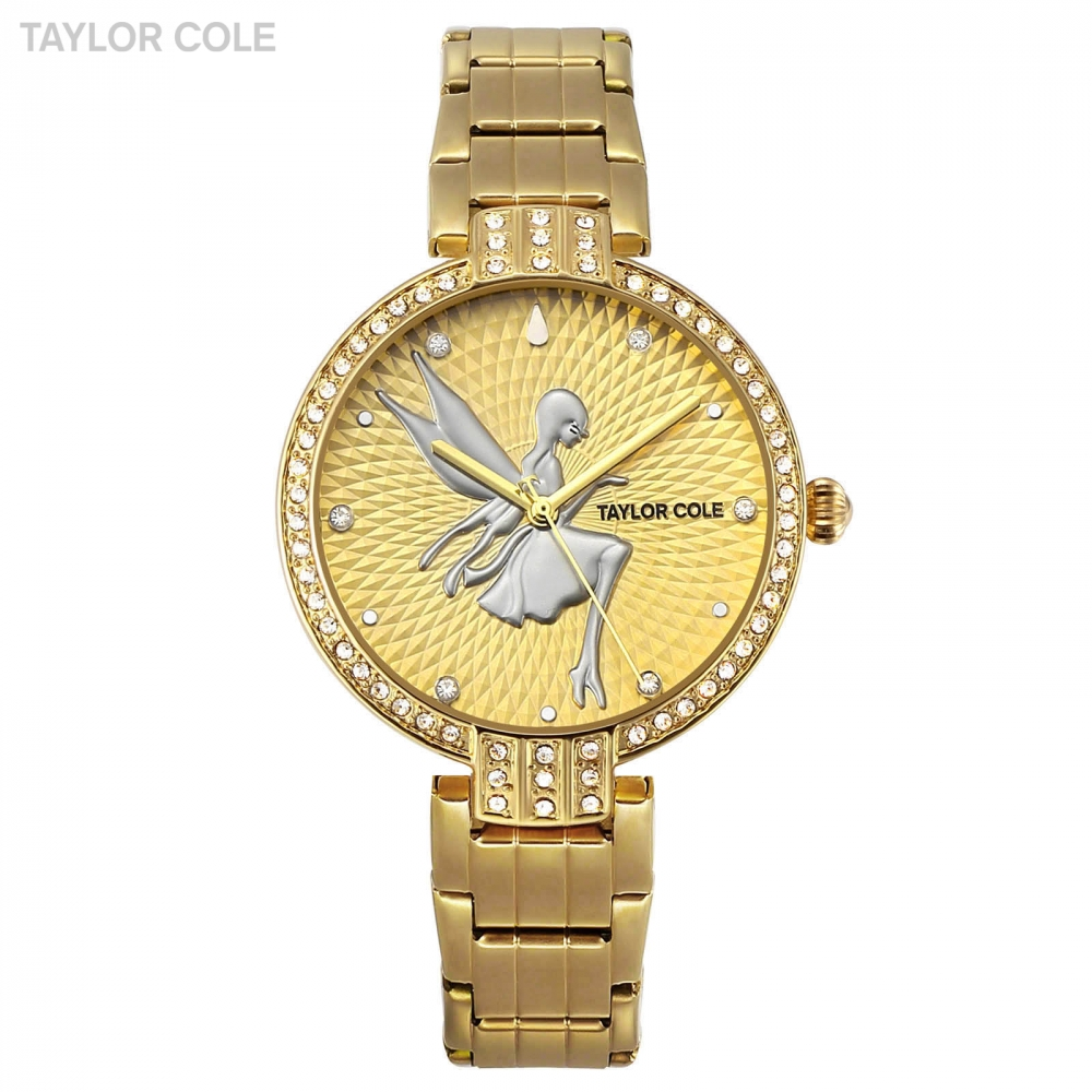 Taylor Cole Horloges Vrouwen Luxury Gold Crystal Case Lady Slim Quartz Steel Band Bracelet Clock Women Watch Gift Box / TC091<br>