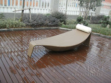 All Weather Outdoor Rattan Daybed Leaf Bed For Patio Beach Pool transport by sea(China)