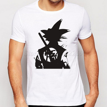 2017 New Famous The Dragon Ball Z Men Cloths Son Goku Super Saiyan Printed Basic T Shirt Fashion White Black Simple Tee For Male(China)