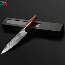 FINDKING new 8 inch damascus knife chef knife damascus steel blade color wood handle stone shape 71 layers damascus steel(China)