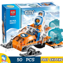 50pcs City Arctic Snowmobile Building Blocks Figures New 10437 Model Children sets kids Toys Base Camp kits Compatible With lego