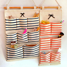 Brief Fashion Hanging Organizer Wall Pocket Storage Bags Linen Fabric Multi-layer Sorting Bags Behind Doors/On Walls