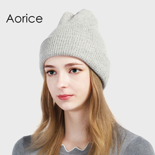 Aorice Winter Hat Solid Knitted Angora Beanies Brand High Quality Warm Vogue Women Men Hat Pompom Female Causal Hats HK711