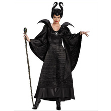Halloween Women Black Sleeping Beauty Witch Queen Maleficent Costumes Carnival Party Cosplay Fancy Dress M-3XL(China)
