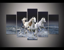 5 grupo grande cartel HD imprimir pintura Río caballo corriendo lienzo impresión de arte decoración arte de la pared pictures for living room F545