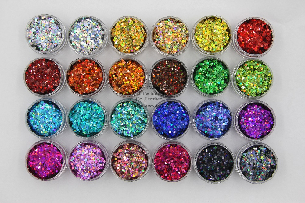 24 holographic colors  Round Dot shape  2MM Size Glitter sequins for  Nail and  Art DIY decora<br>
