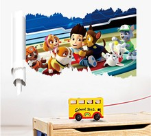 wholesale manufacturers B0159 3 d cartoon wall dogs patrol children room one foreign trade