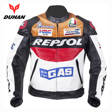 DUHAN GP REPSOL Motorcycle Jackets Riding Leather Moto Racing Jackets motorbike knight Jersey with protectors Motocross jacket(China)