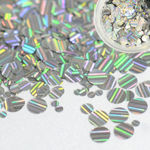 1g Round Flake Ultra-thin Stripe Line Nail Art Glitter Shinning Slice Paillette Mixed 1/2/3mm Laser Silver Sticker Manicure TW04(China)