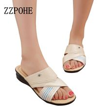 ZZPOHE Summer Woman comfortable soft sandals elderly non-slip Breathable Ladies slippers large size women slippers size 40 41(China)