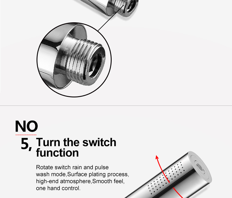 hm With Switch Hand Shower Head Brass Pressure Rain&Pulse Spray Gun Super Supercharged Bathroom Detachable Washable Shower Head (15)