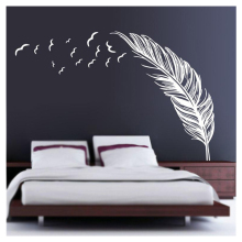 SZS Hot Left flying feather wall stickers home decor home decoration wallpaper wall sticker White Best Selling
