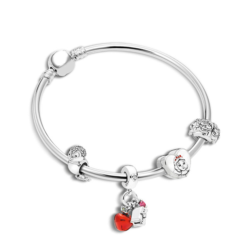 NEW 100% 925 Sterling Silver Christmas Fairy Tale Charm Apple Bird Book Bracelet Bracelet Original Jewelry Gift Recommended
