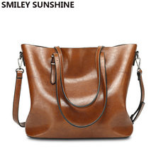 SMILEY SUNSHINE oil wax leather women bags 2017 vintage big shoulder bags female top-handle bags large tote purses and handbags(China)