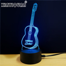 Guitar Shape 7 Colors Changing 3D Led Night Light for Kids Touch Switch USB Nightlights Usb Led NightLights Lamp Luz noturna(China)