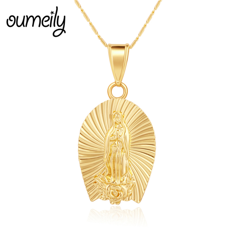 OUMEILY Vintage Necklace Women/Men Jewelry Wholesale Trendy Gold Color Chain Fine Crucifix Jesus Cross Pendant