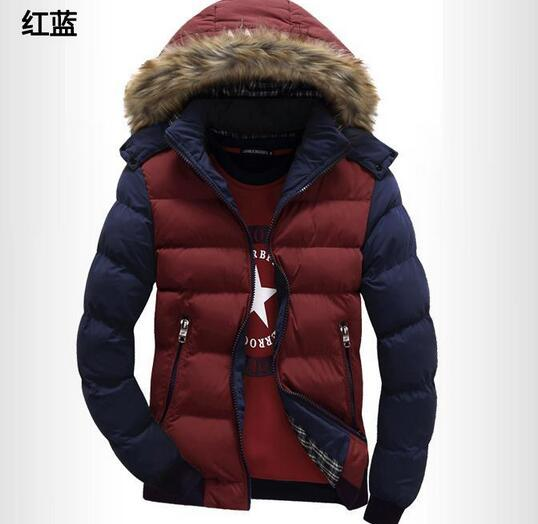 2017 Winter Contrast Color Hooded Mens Parka Casual Slim Fit Boys Thicken Jacket Stand Collar Cotton Down Coats  Size M -3XLОдежда и ак�е��уары<br><br><br>Aliexpress