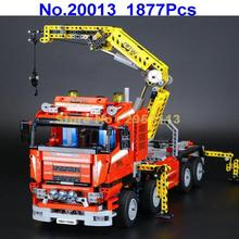 20013 1877pcs Technic Ultimate Mechanical Series Electric Crane Truck  Lepin Building Blocks Compatible 8258 Brick Toy