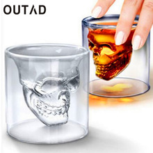 OUTAD vodka whisky Beer Tea Glass Cup Wine Coffee Mug Doomed Skull Head Shot Shape for Party Bar Drinkware Drop Shipping(China)