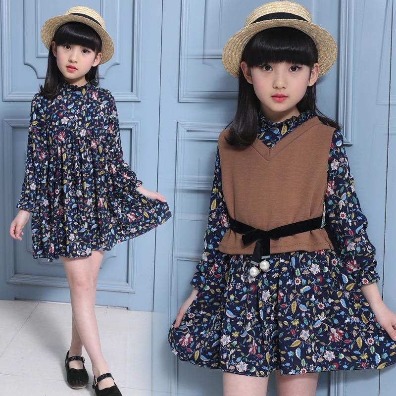2017 Spring Princess Style Baby Girl Dress Set Floral Pattern Dress + Cotton Vest Kid Clothing Set Children Fashion Clothes Suit<br><br>Aliexpress
